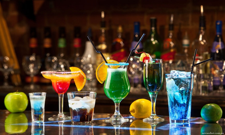 Drinks on top of bar counter