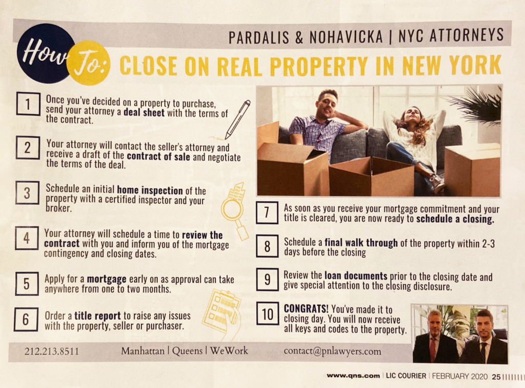 """Image of LIC Magazine article titled """"How To: Close On Real Property In New York"""" written by Pardalis & Nohavicka 